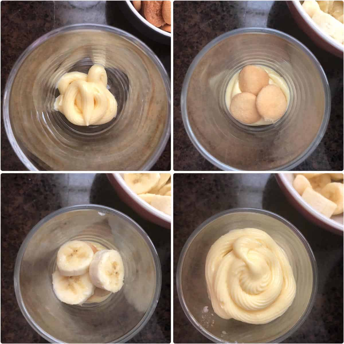 Layering vanilla pudding, wafers and bananas in a cup