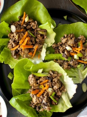 top view of tofu lettuce wraps on a tray