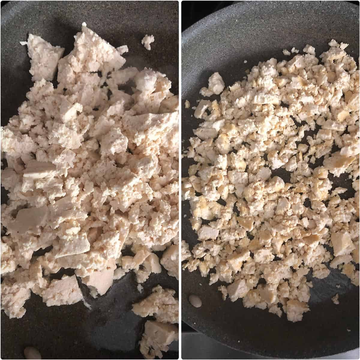 Side by side photos of crumbled tofu cooked till golden brown