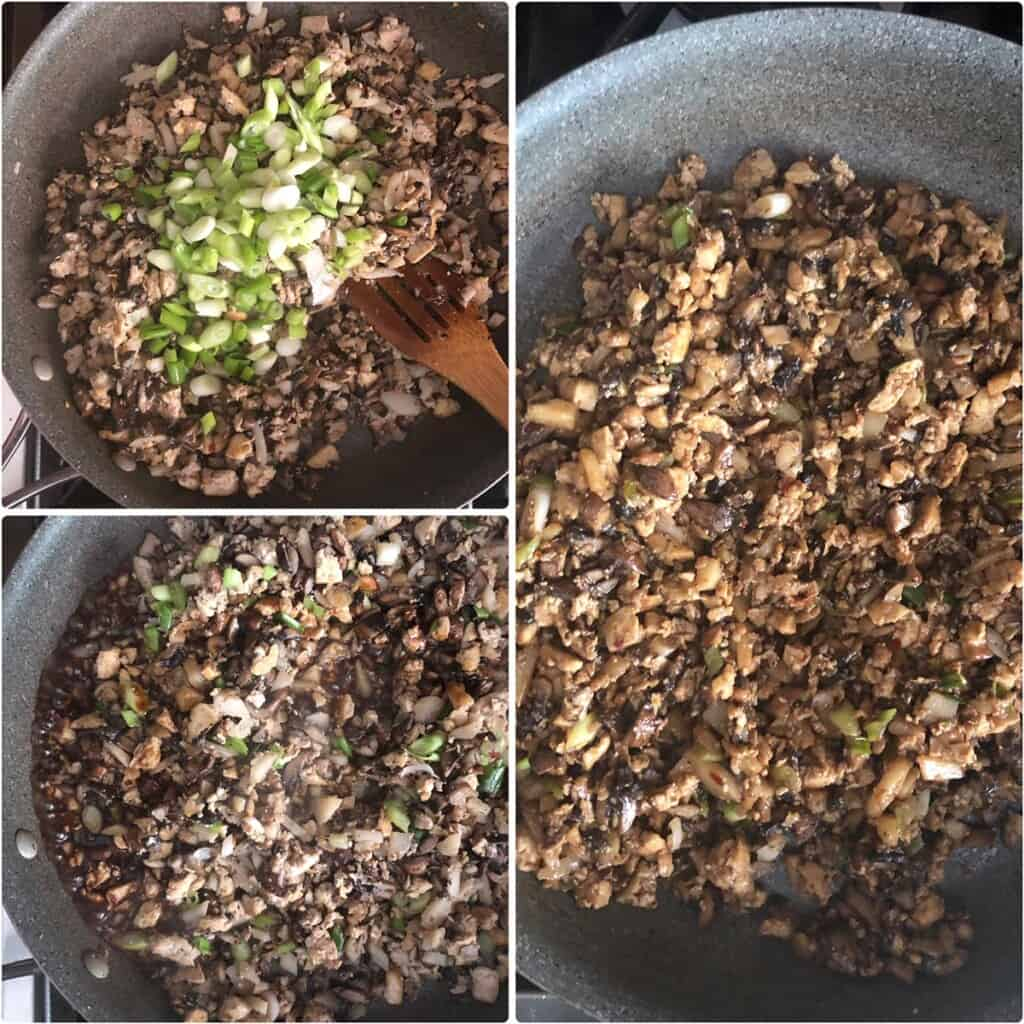 adding green onions and making the filling