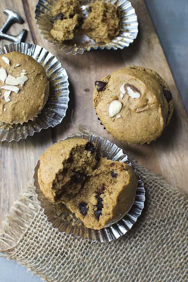 Vegan Muffins with Almond butter & Chocolate Chips