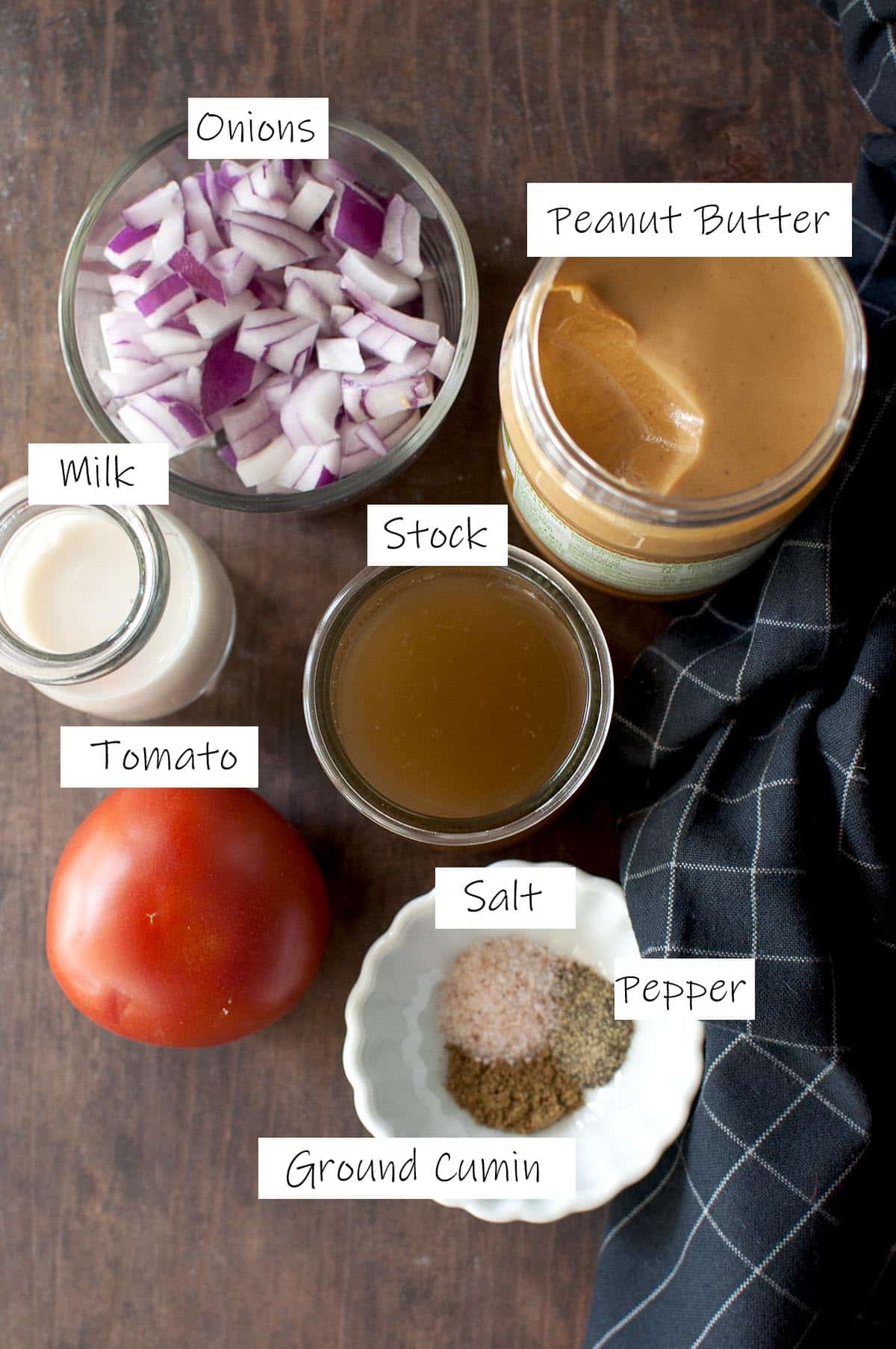 Ingredients for Peanut sauce - details in recipe card