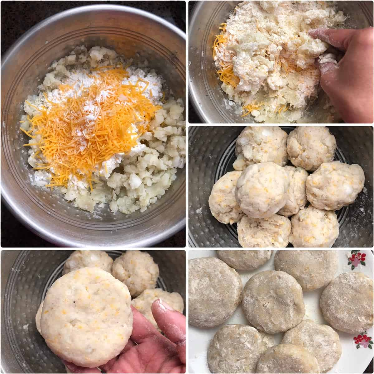 Adding ingredients to mashed potatoes and making into patties