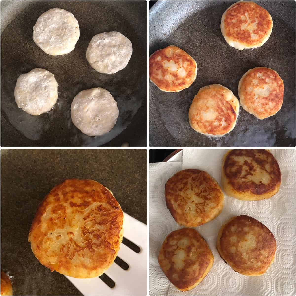 Cooking patties in oil until golden and crispy
