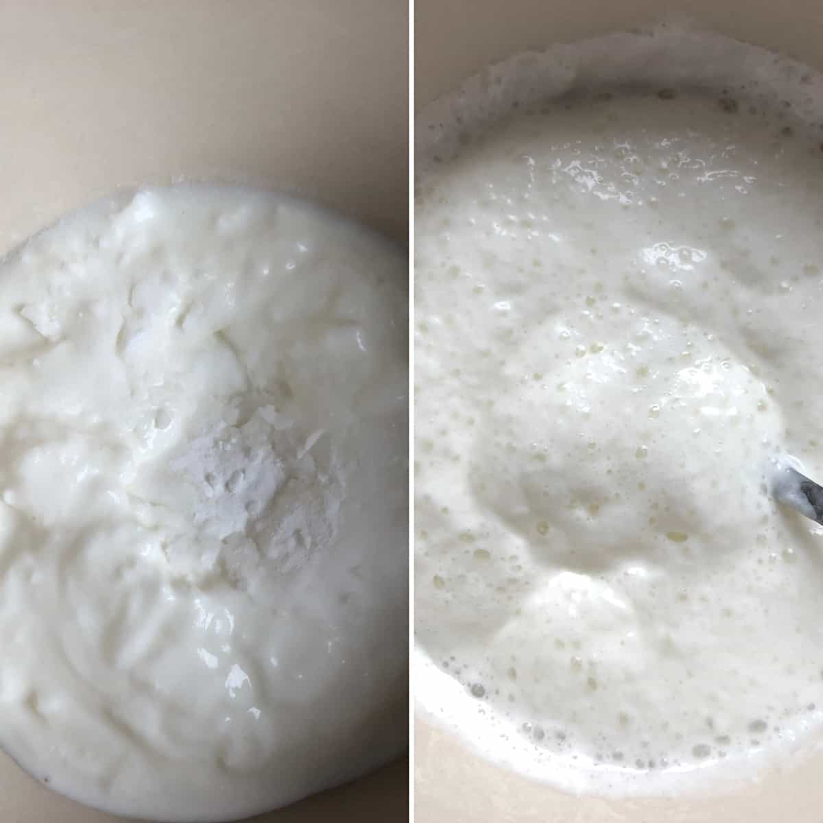 Baking soda added to yogurt and the frothy mixture