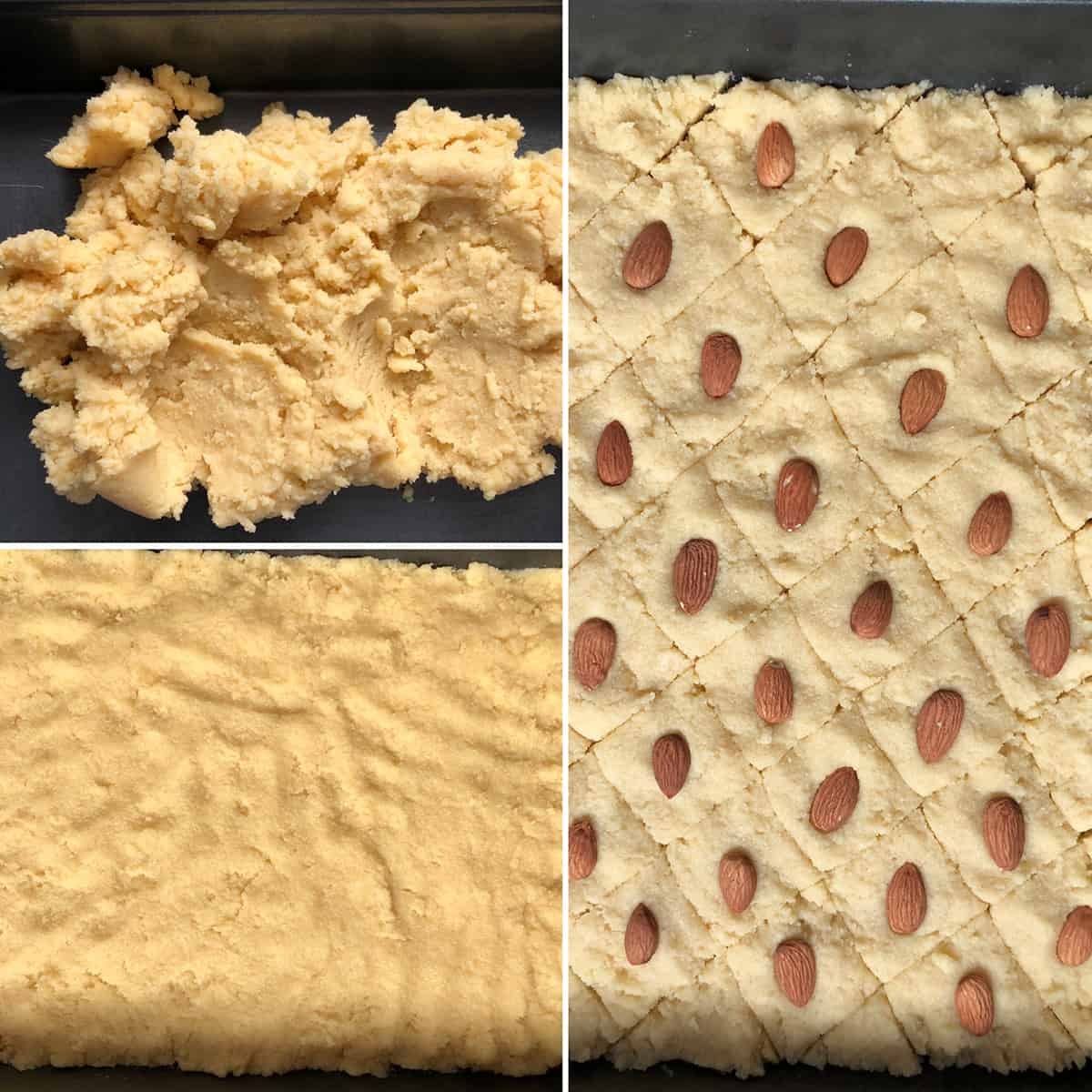 cake batter evenly spread in a baking pan, scored and topped with whole almonds