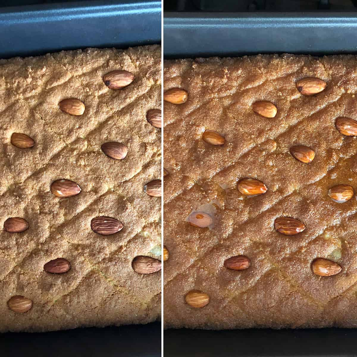 Side by side photo of baked cake before and after soaked with sugar syrup