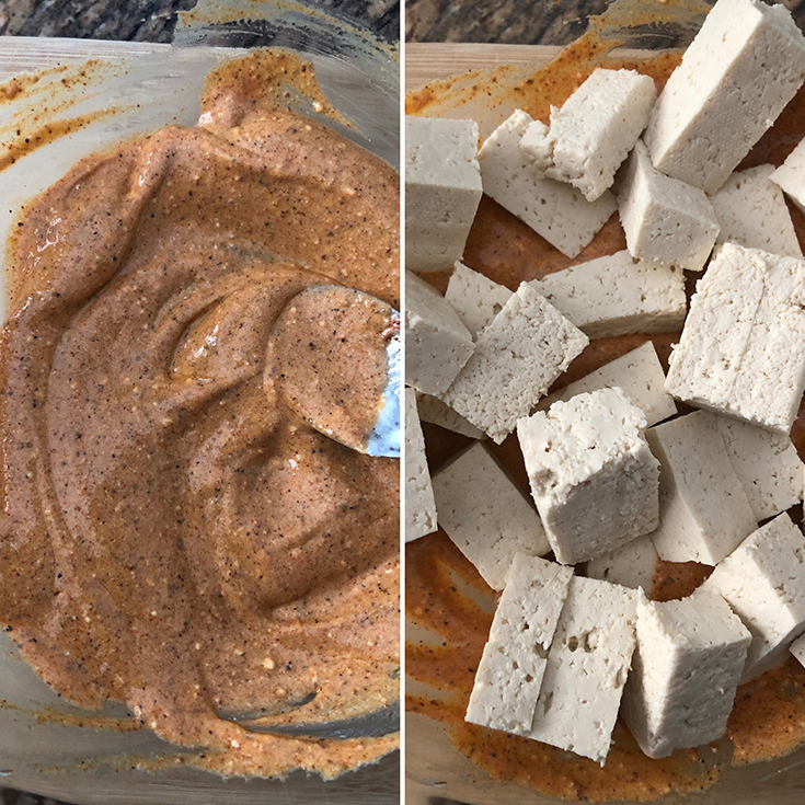 Side by side photos of marinade and cubed tofu
