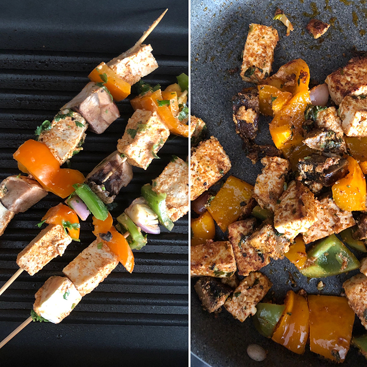 Side by side photos of grilled and sauteed kebabs
