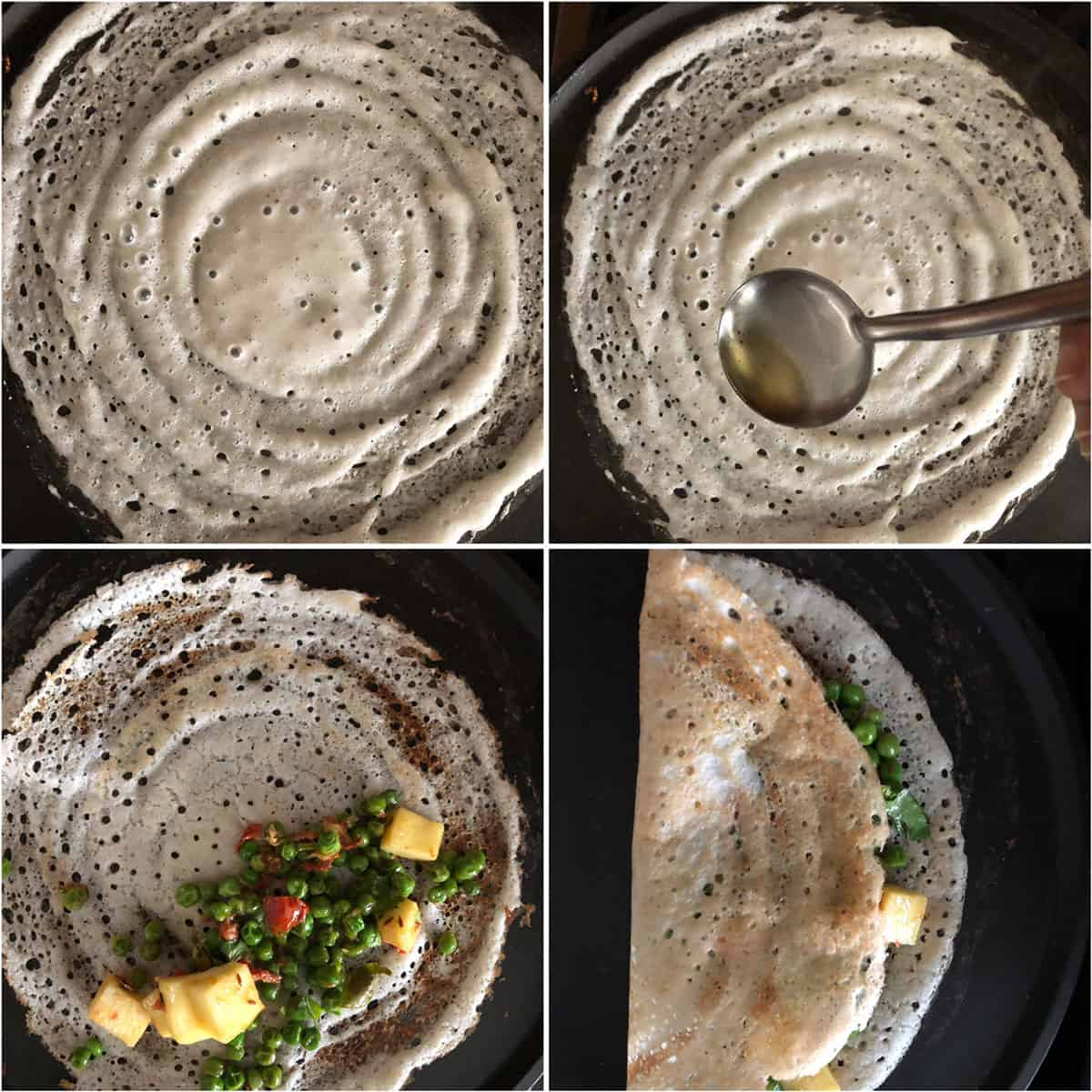 Step by step photos showing the making of savory crepe and filled with paneer