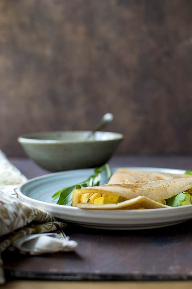 Dosa with Paneer filling