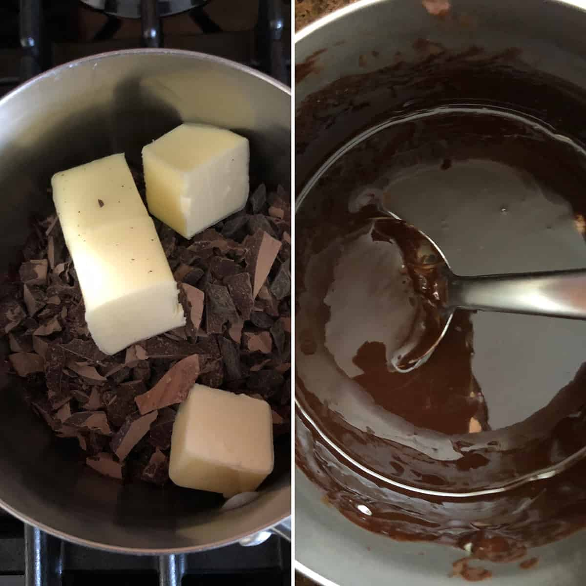 Saucepan with chopped chocolate and butter, heated until melted