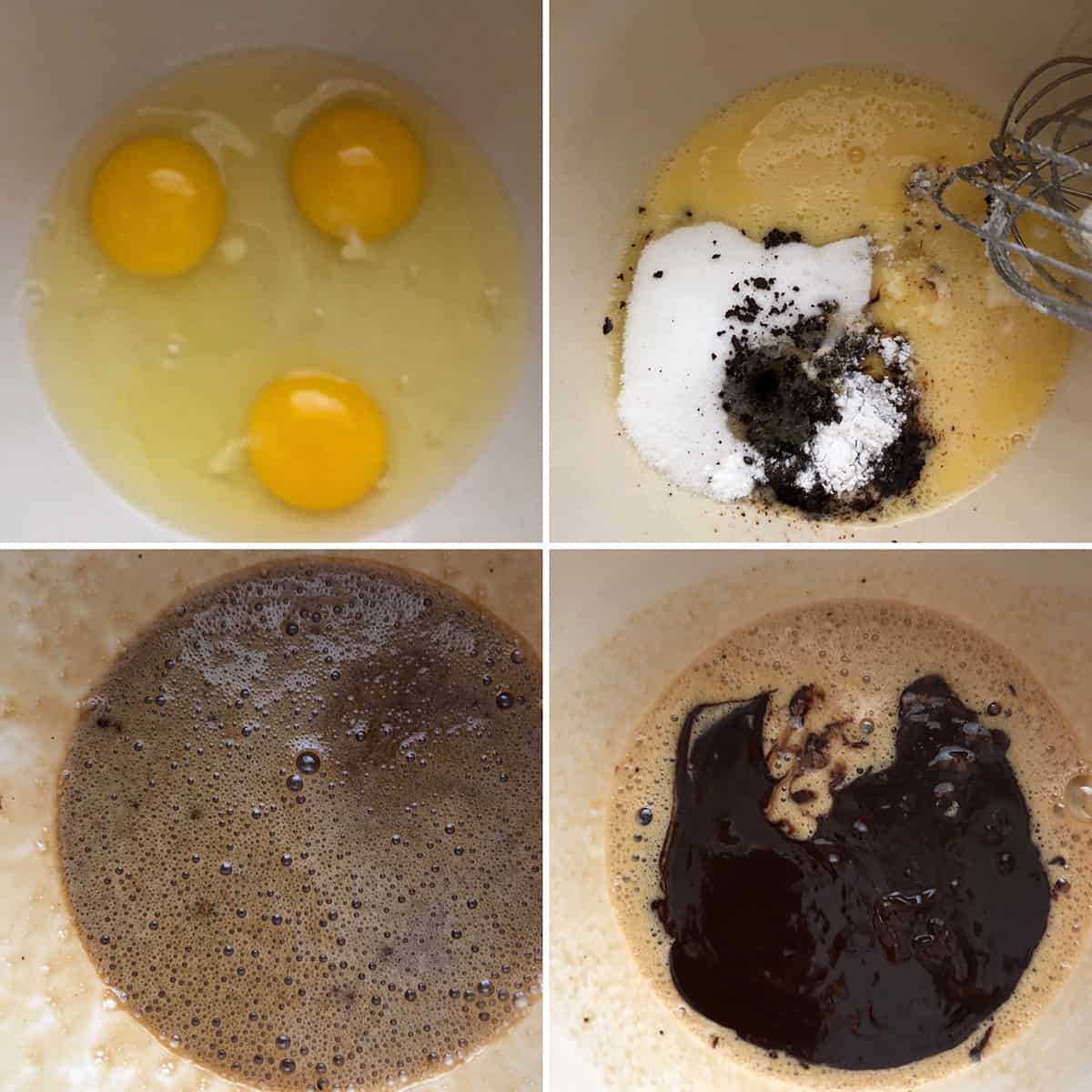 Step by step photos showing mixing wet ingredients to make the crinkle cookies