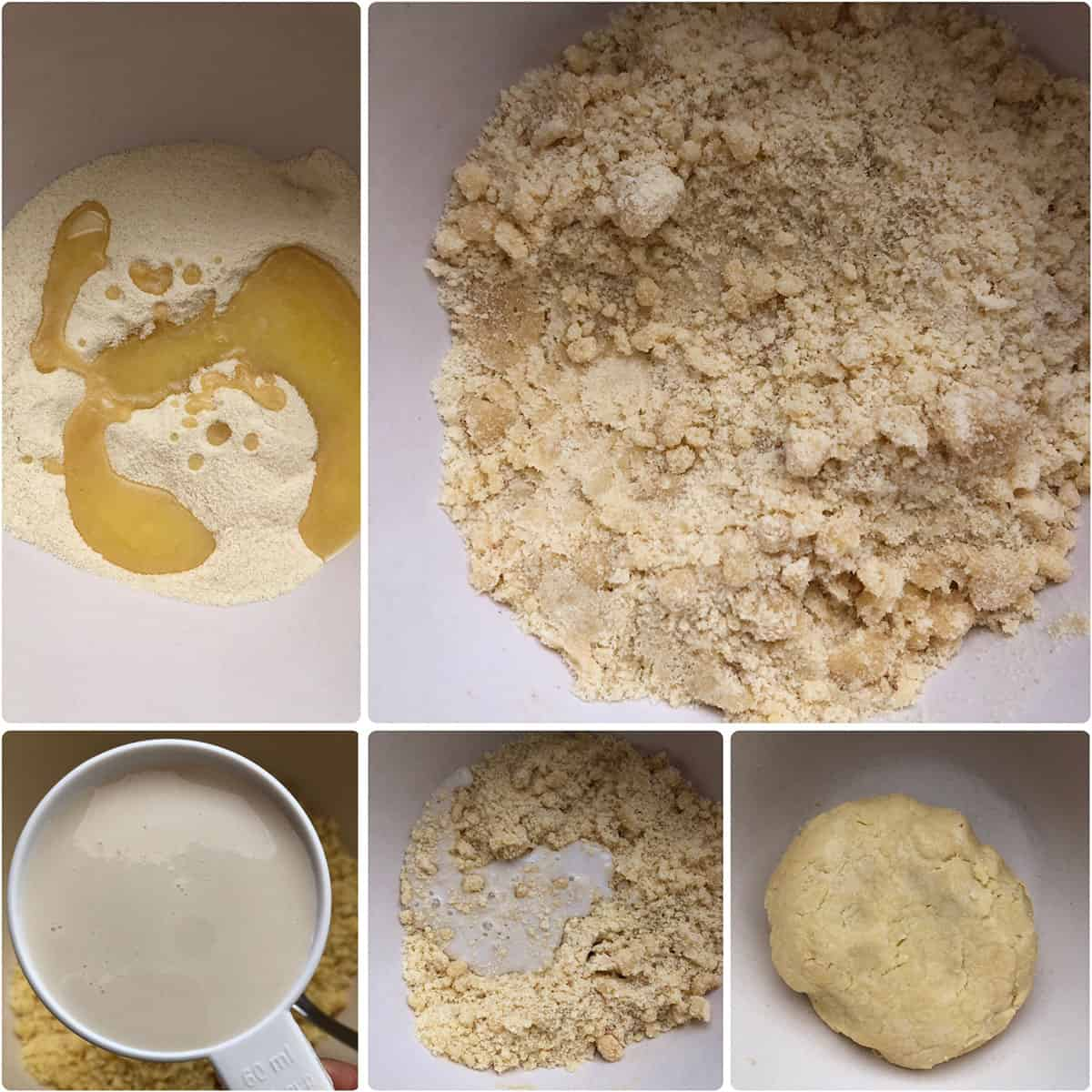 Melted butter and milk added to dry ingredients to form a smooth dough