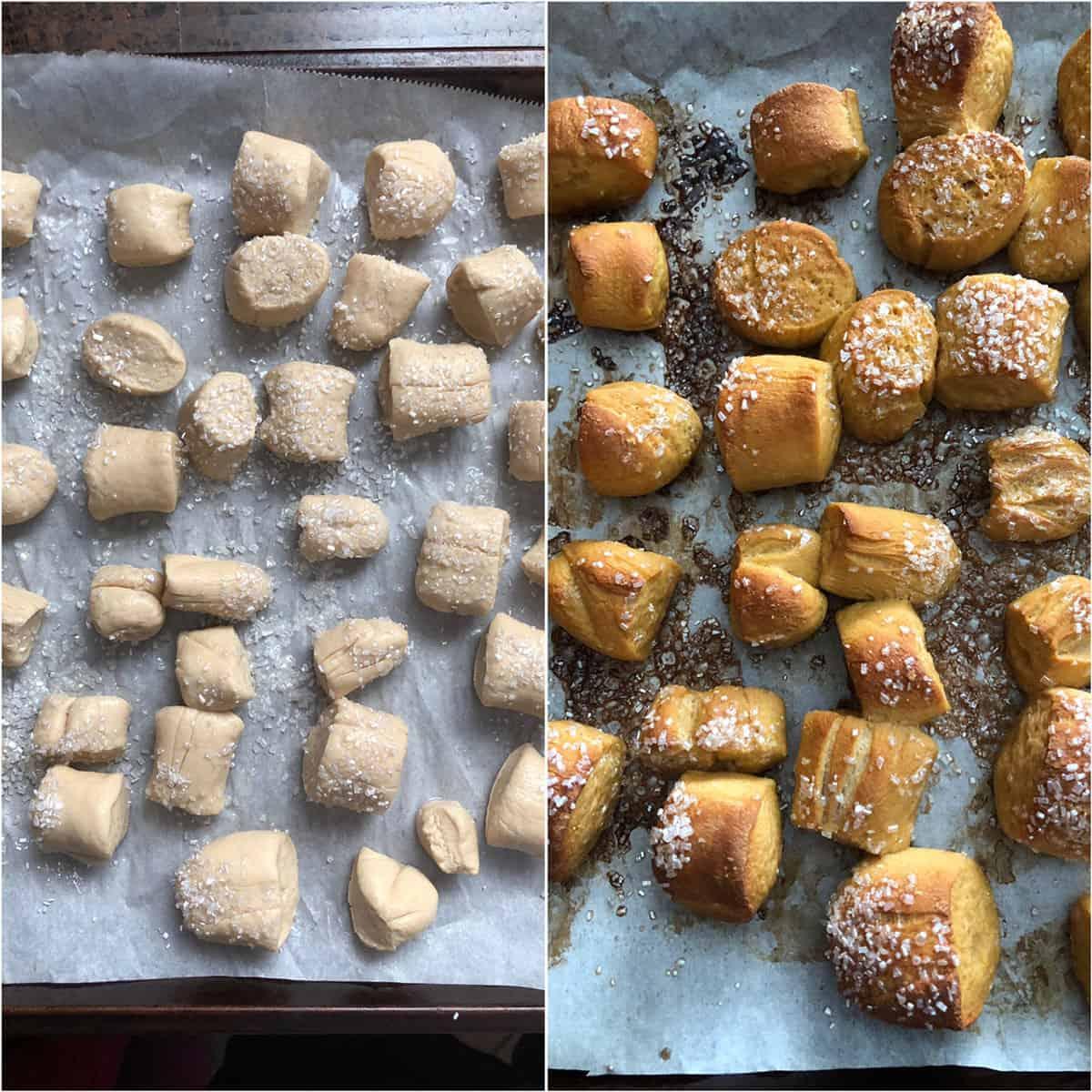 Pretzel bites sprinkled with sparking sugar and baked until golden brown