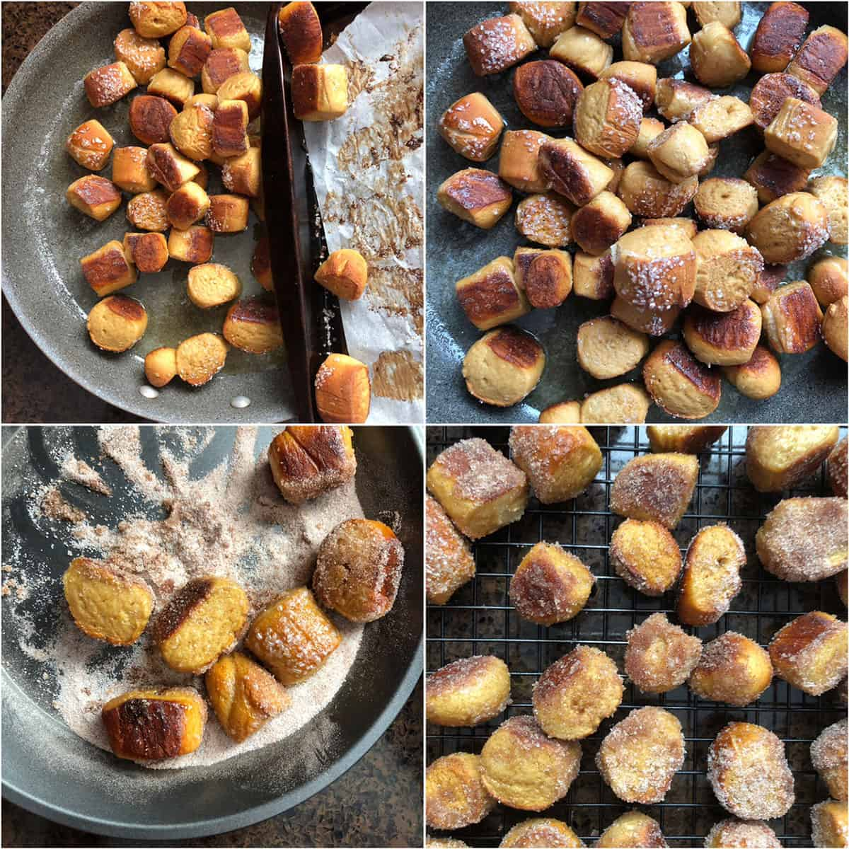 Mini bites coated with melted butter and rolled in cinnamon sugar