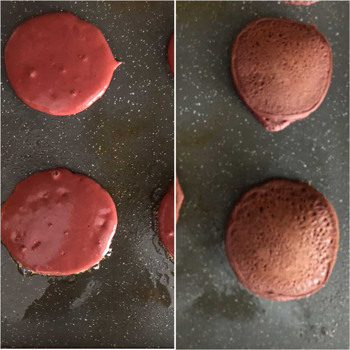 Cooking pancakes until golden