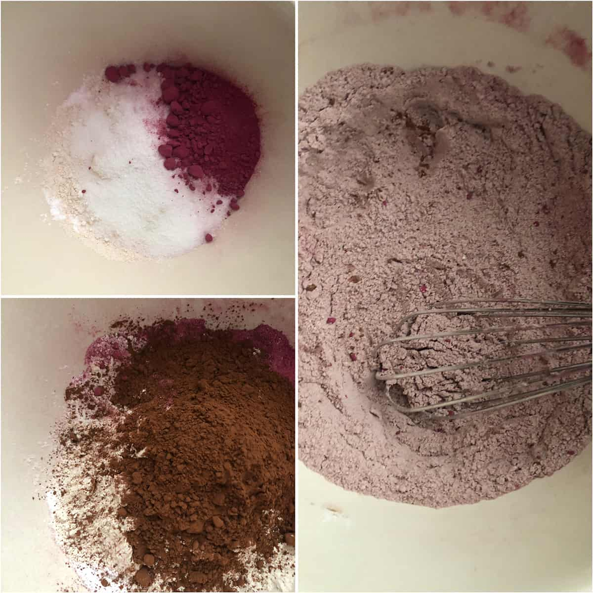 Dry ingredients being added to a bowl.
