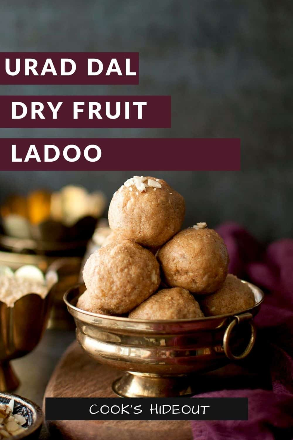 Golden bowl with a stack of laddu