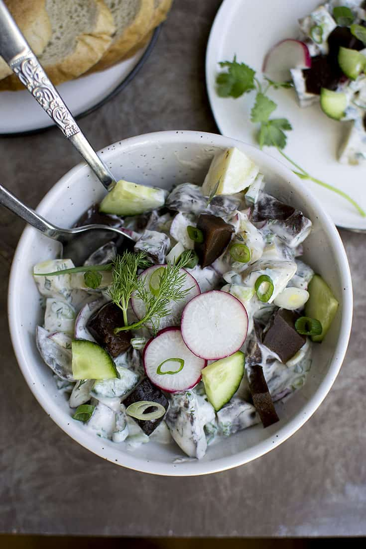 Beet and Potato Salad with Creamy Dressing