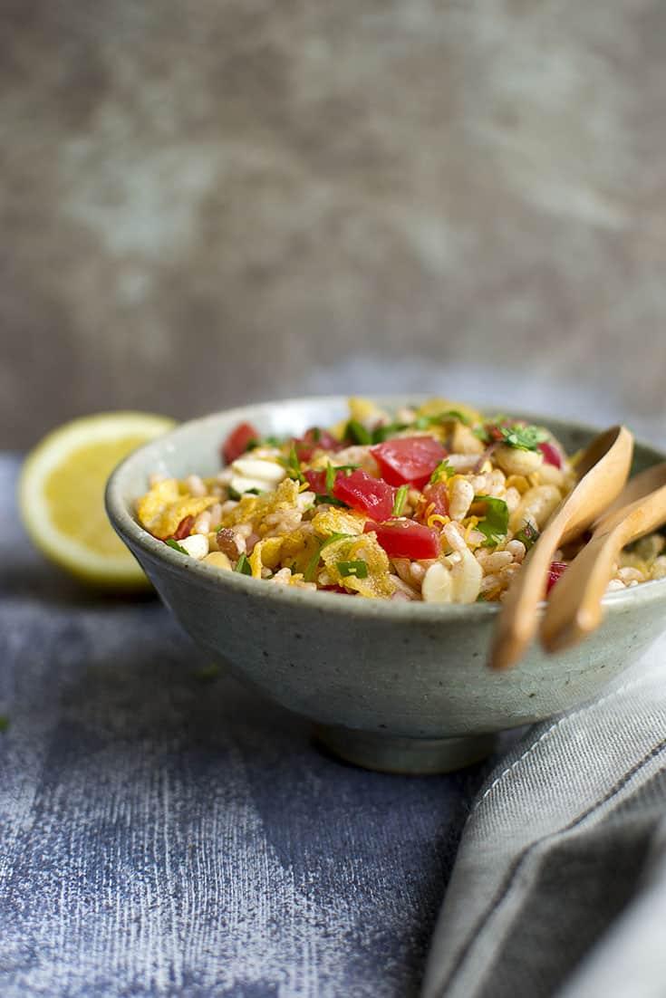 Grey bowl with crispy Andhra pidatha kinda pappu