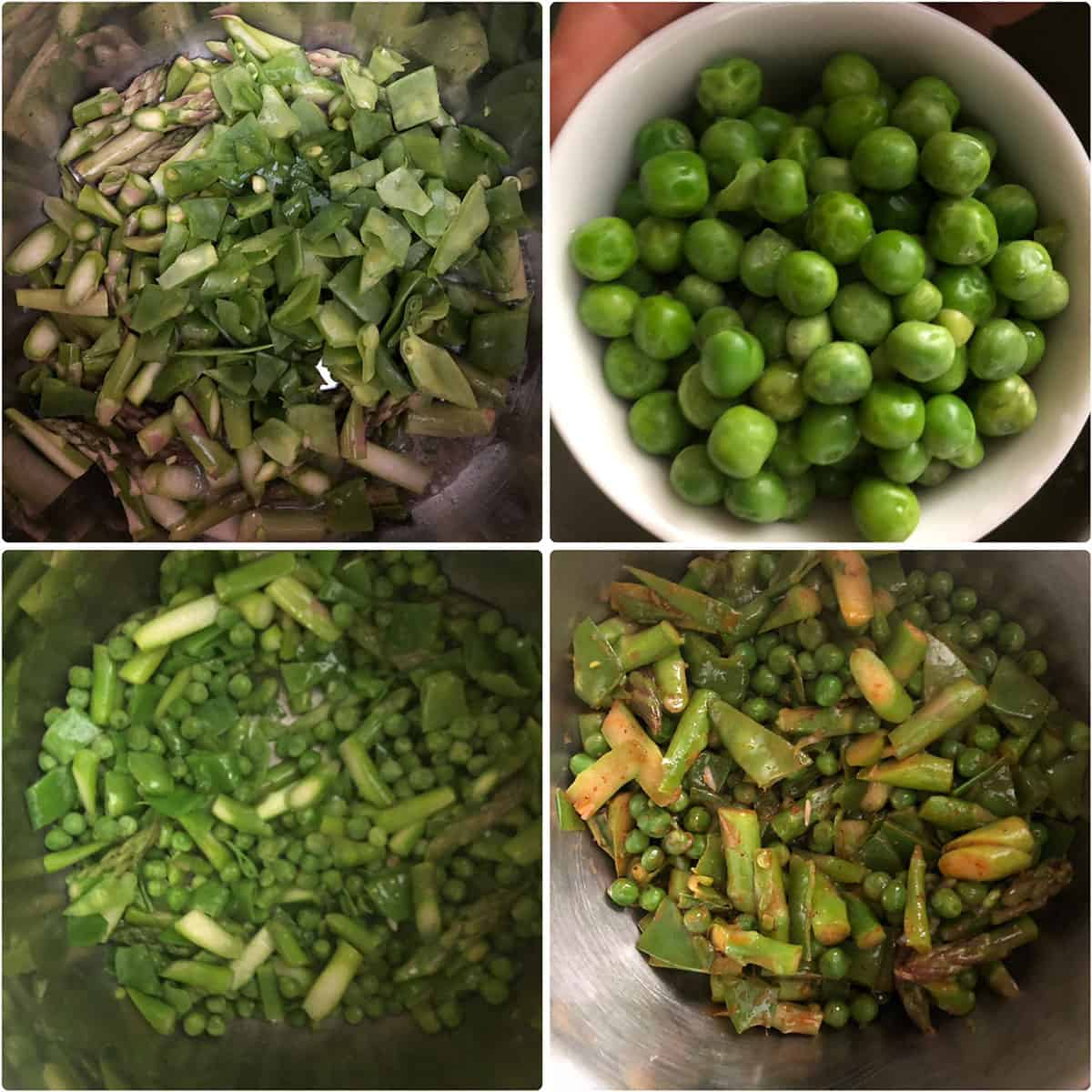 Step by step photos showing the sautéing of asparagus, snow peas and green peas until crisp tender
