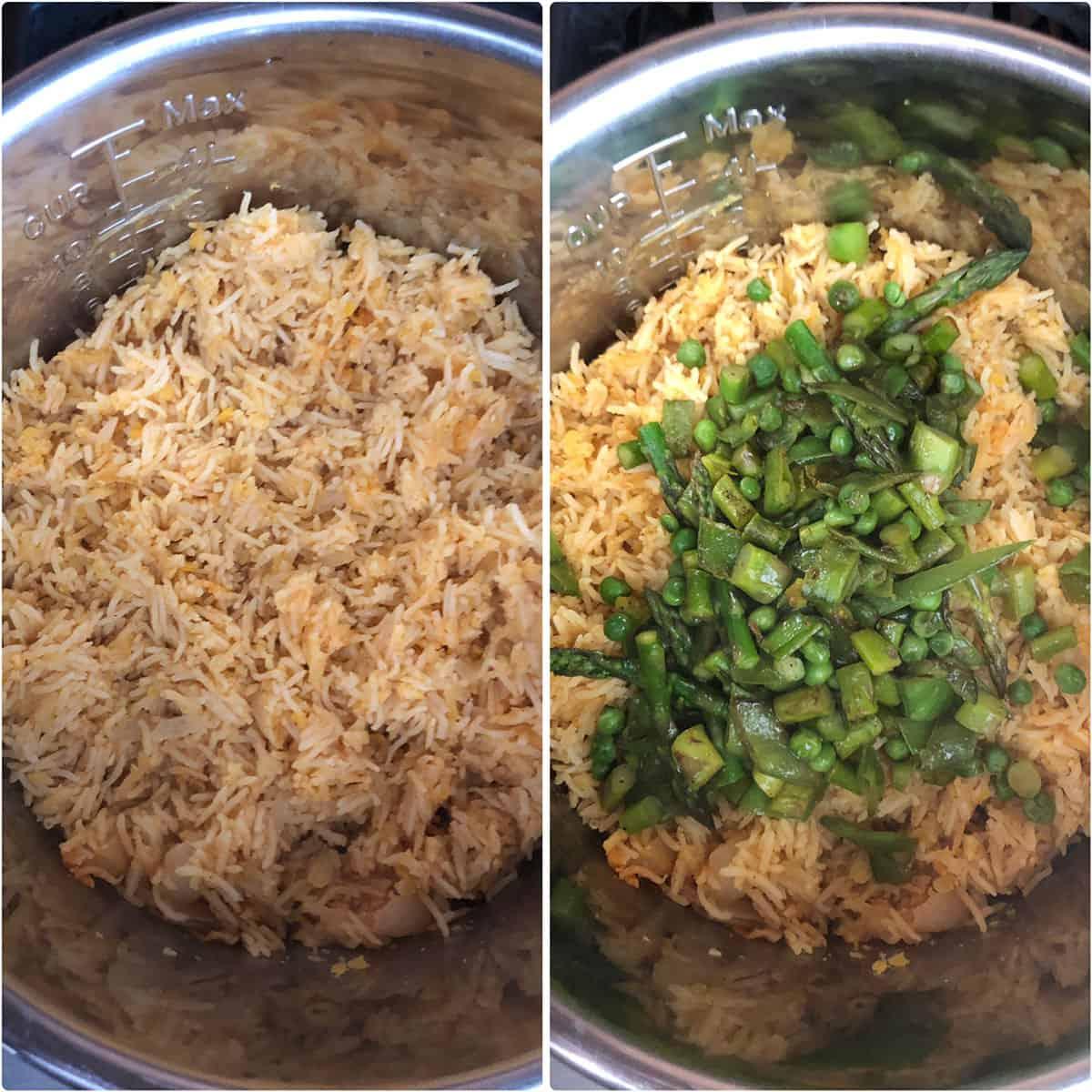 Cooked khichdi and adding the sautéed veggies