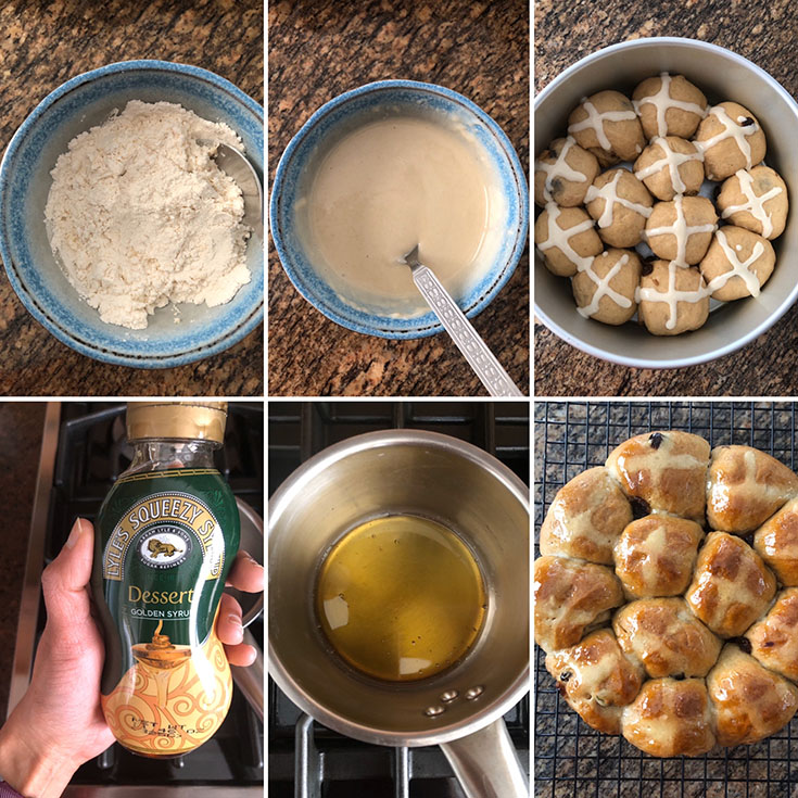 Step by step photos showing the making of whole wheat hot cross buns