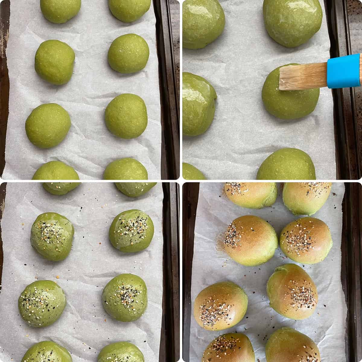 Spinach buns placed on baking sheet, brushed with milk, topped with seeds and baked until golden