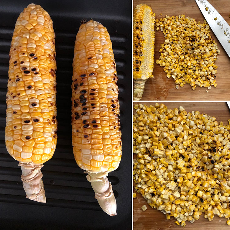 Two grilled corn and the kernels cut from the cob