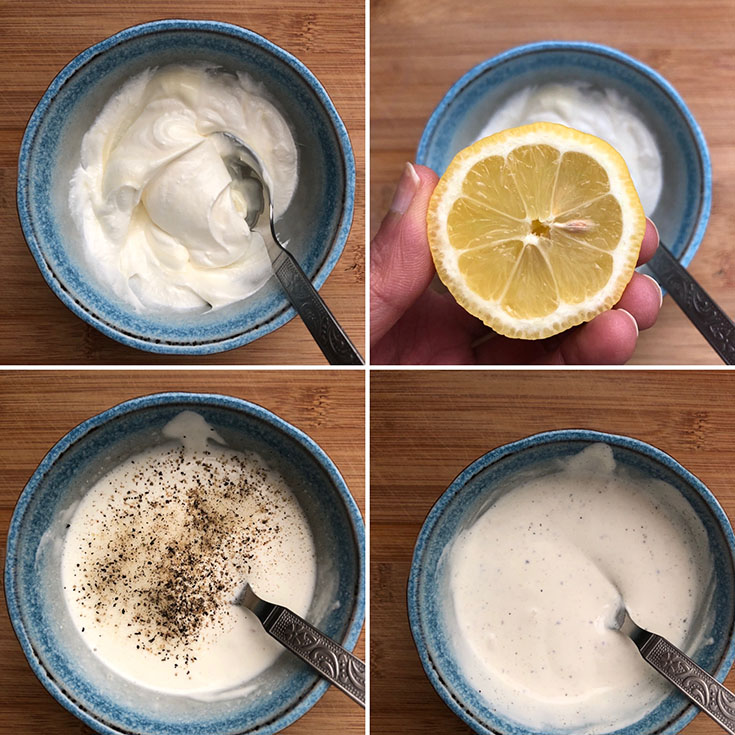 Blue bowl with mayo, sour cream, lemon juice, salt and pepper