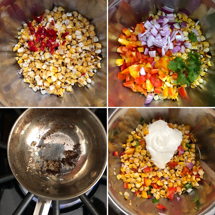 Grilled corn kernels mixed with jalapeno, red onion, peppers, garlic, chili powder and dressing