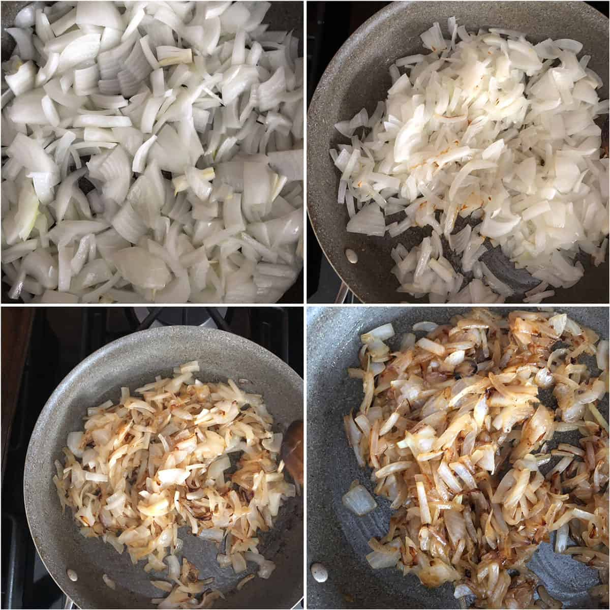 Step by step photos showing caramelizing onions until golden