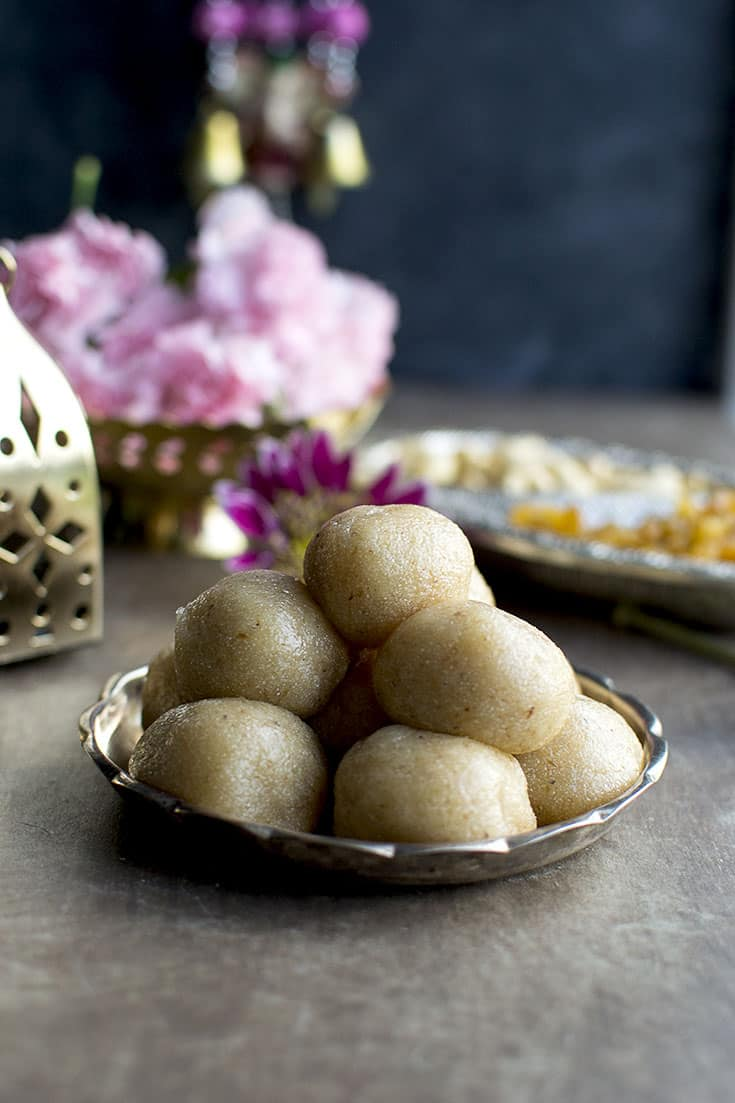 Plate with sooji laddoo made for diwali