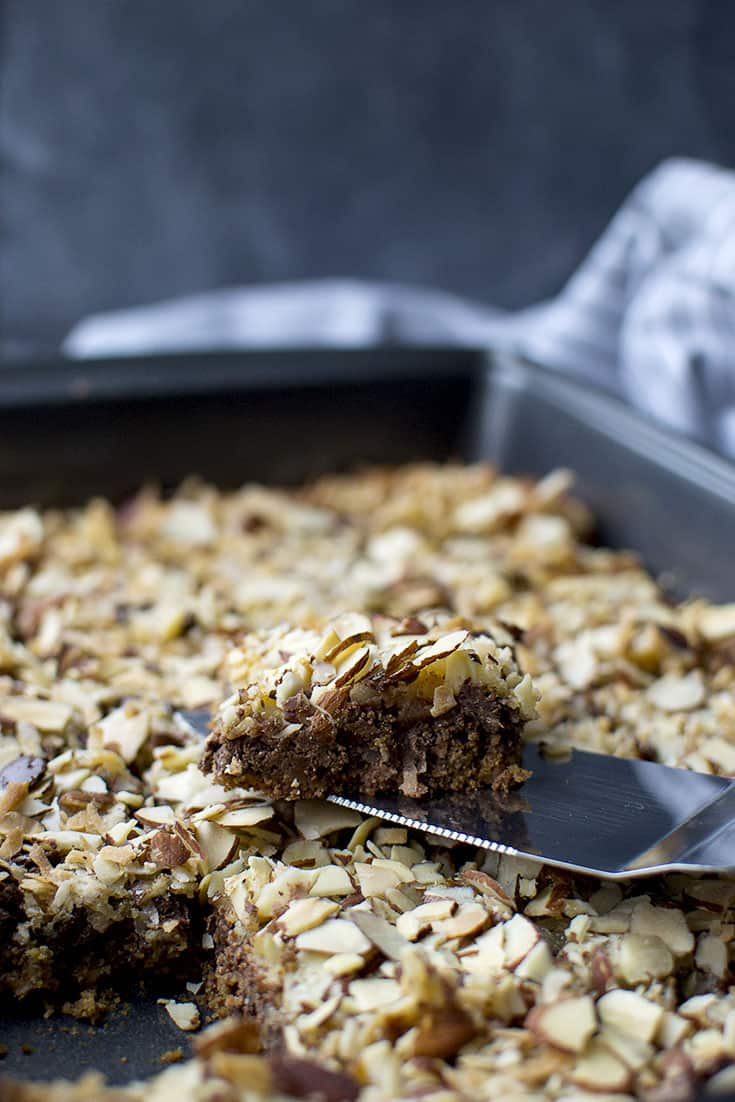 Magic Cookie bars in a baking pan