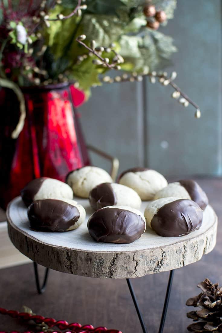 Tray of chocolate dipped Bulgarian Medenki Cookies