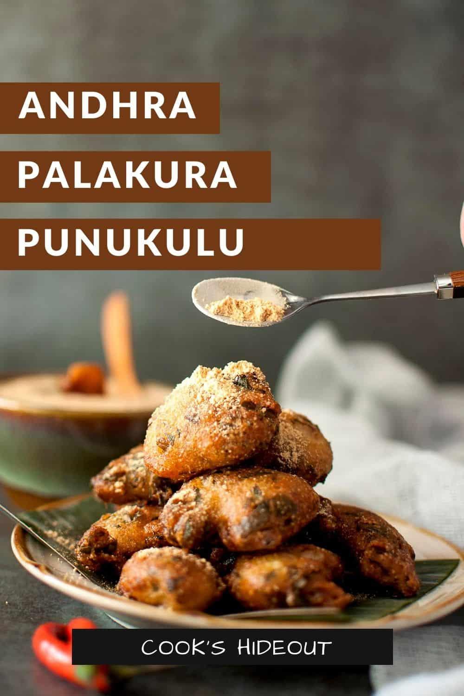 Spoon sprinkling spice powder on a stack of palakura punukulu