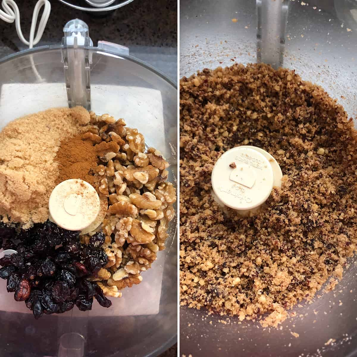 Filling ingredients placed in a food processor and pulsed into a coarse mixture