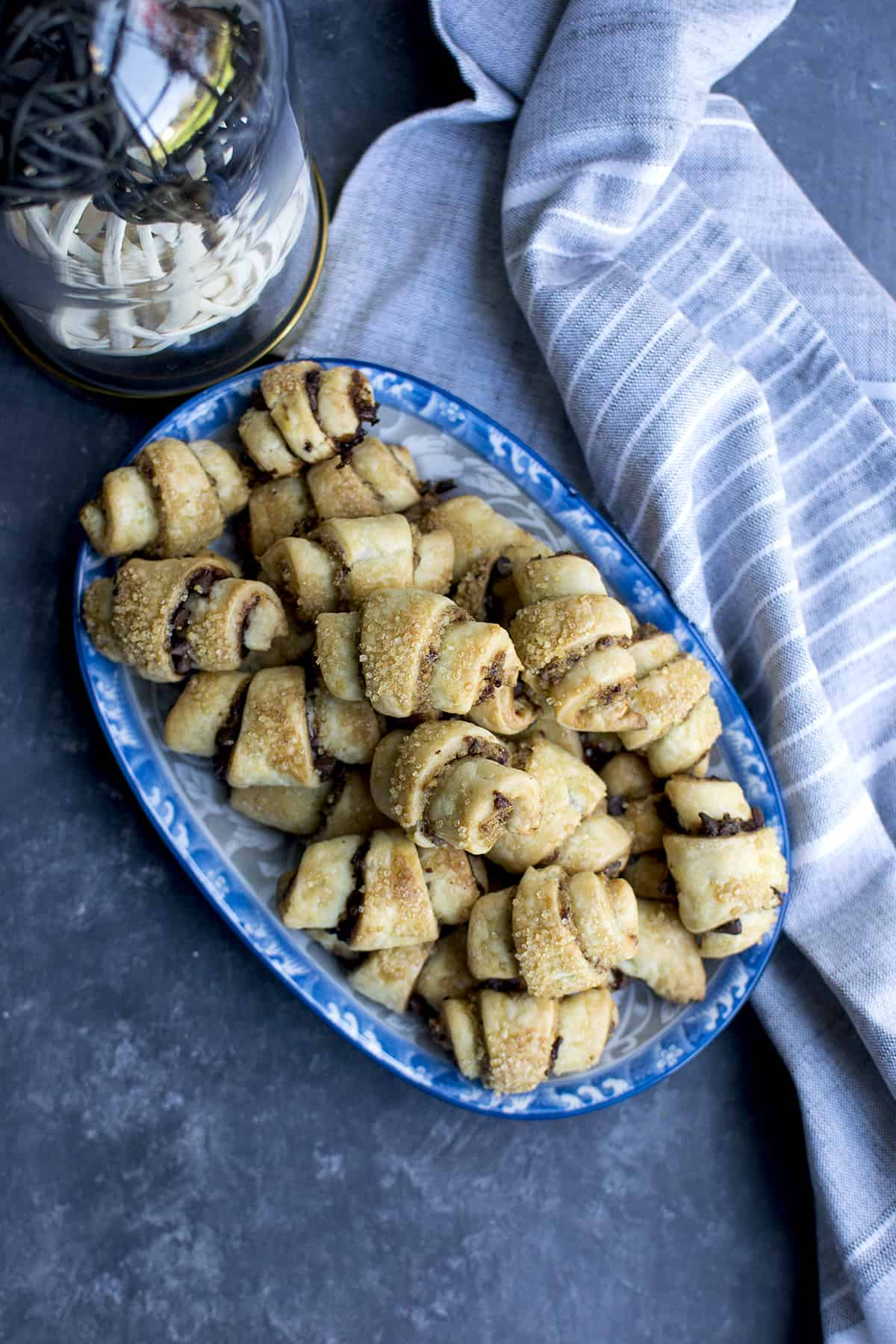 Blue printed tray with baked rugelach