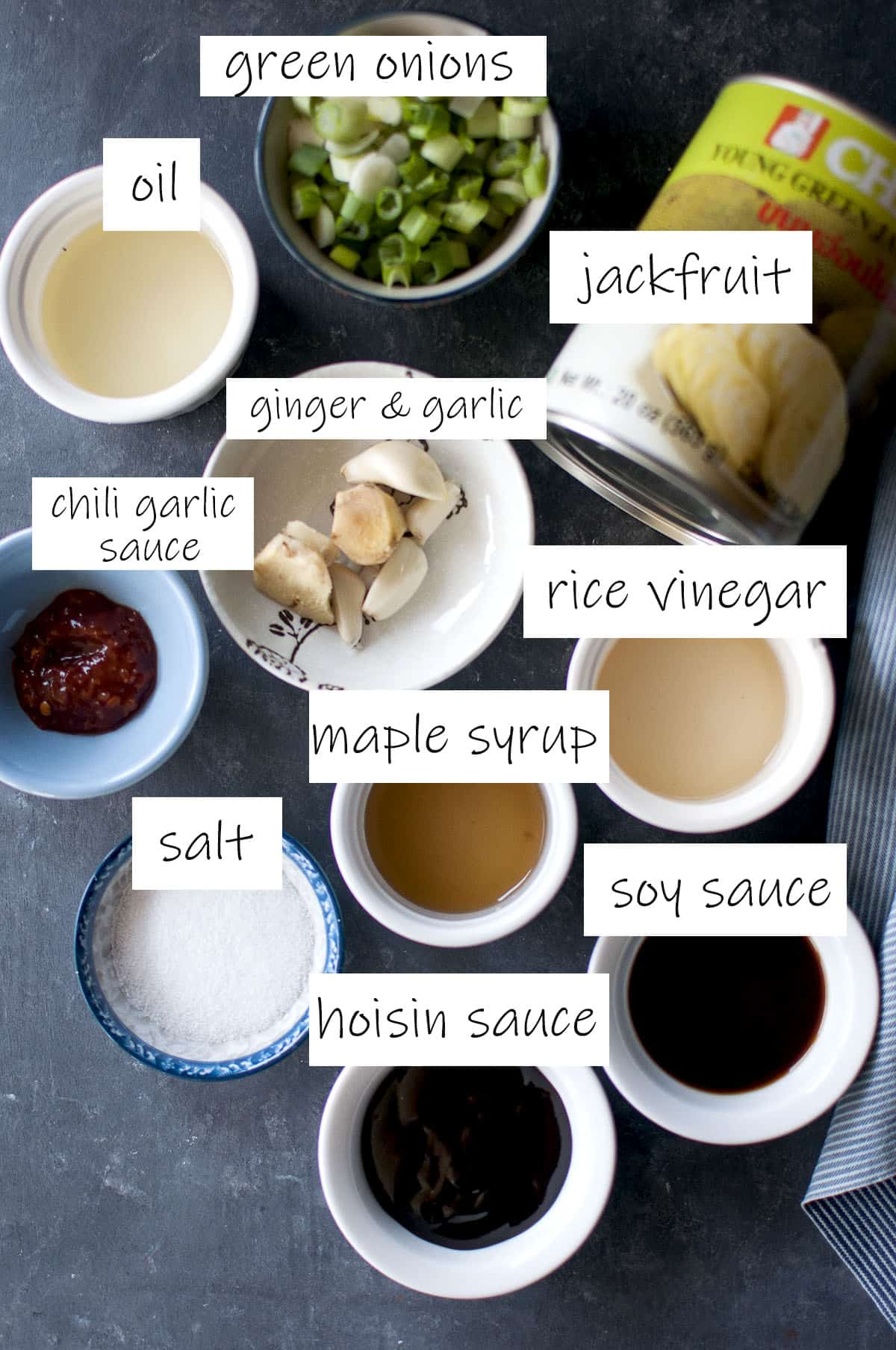 Ingredients needed to make vegan jackfruit filling - details in recipe card