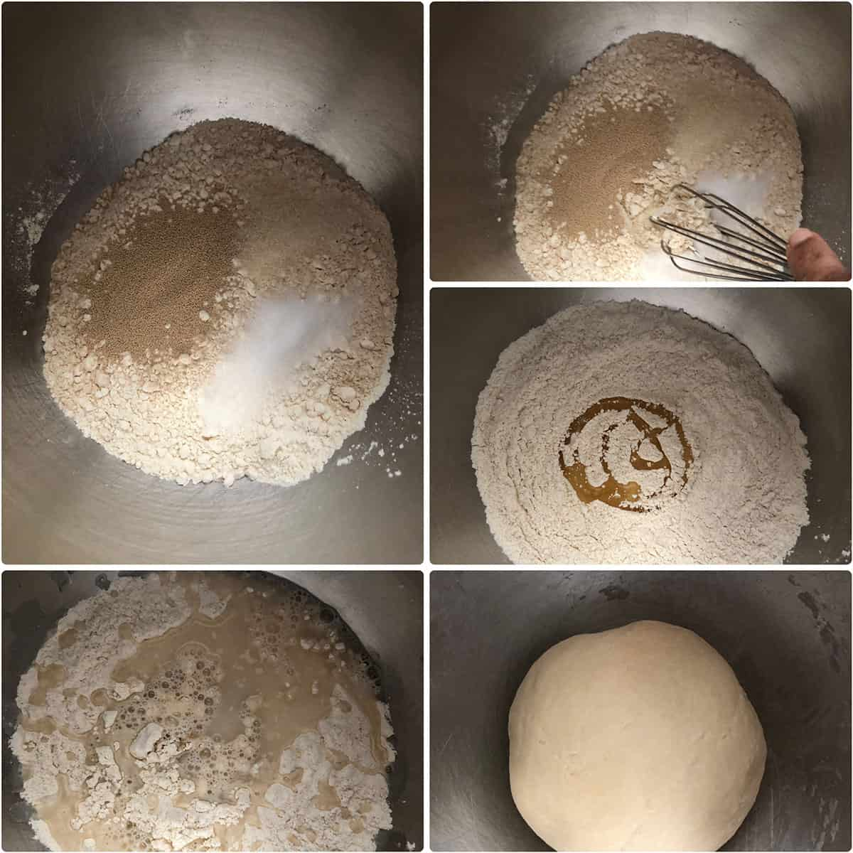 Step by step photos of dry ingredients added to a bowl and mixed with water and oil until smooth dough forms