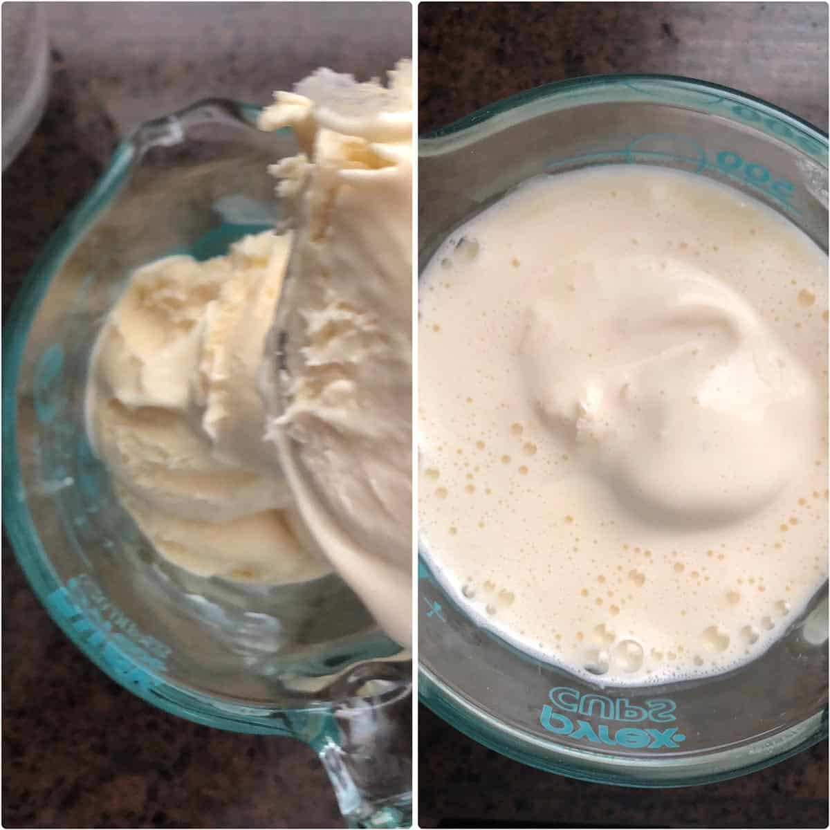 Side by side photos of melted ice cream