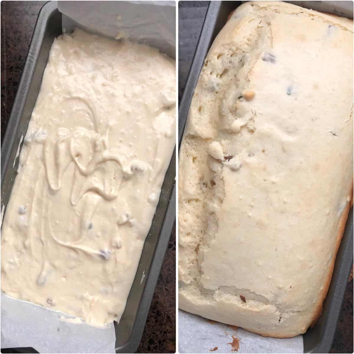 Before and after baking the bread