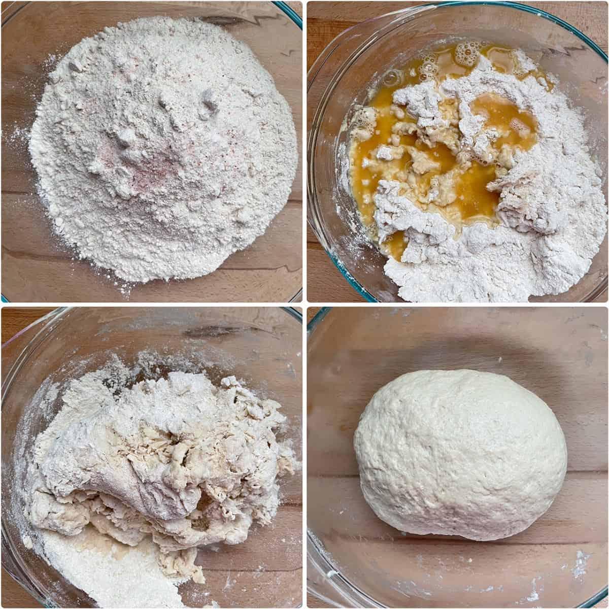 Mixing ingredients to make dough