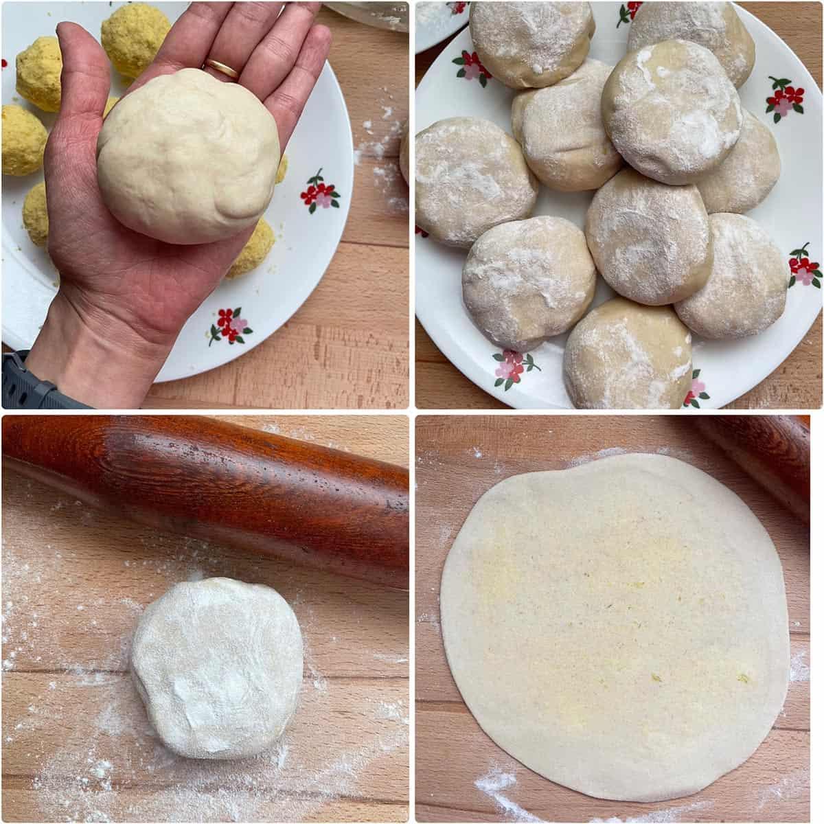 Rolling out stuffed flatbread