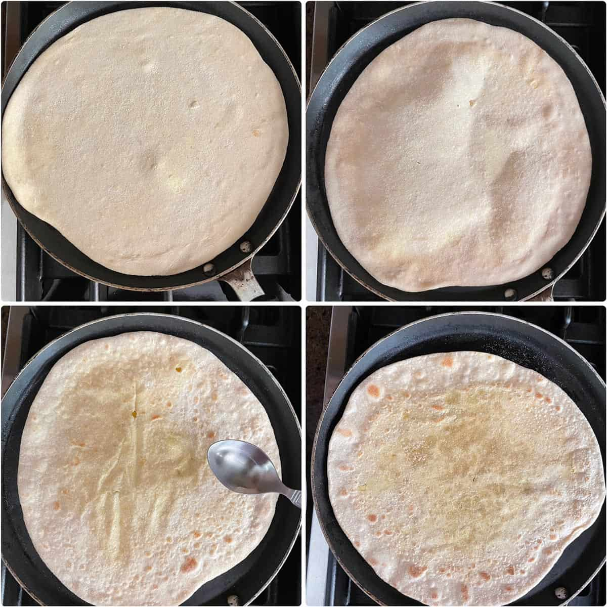 side by side photos showing the cooking of flatbread on griddle
