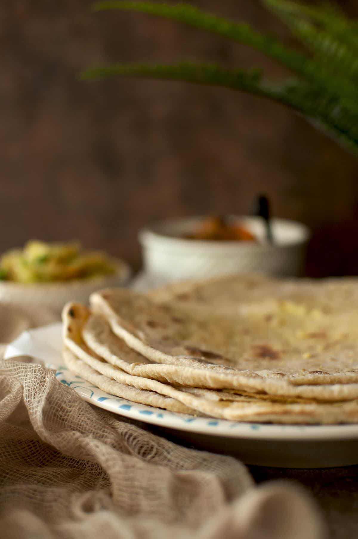 white plate with a stack of Mauritian dholl puri