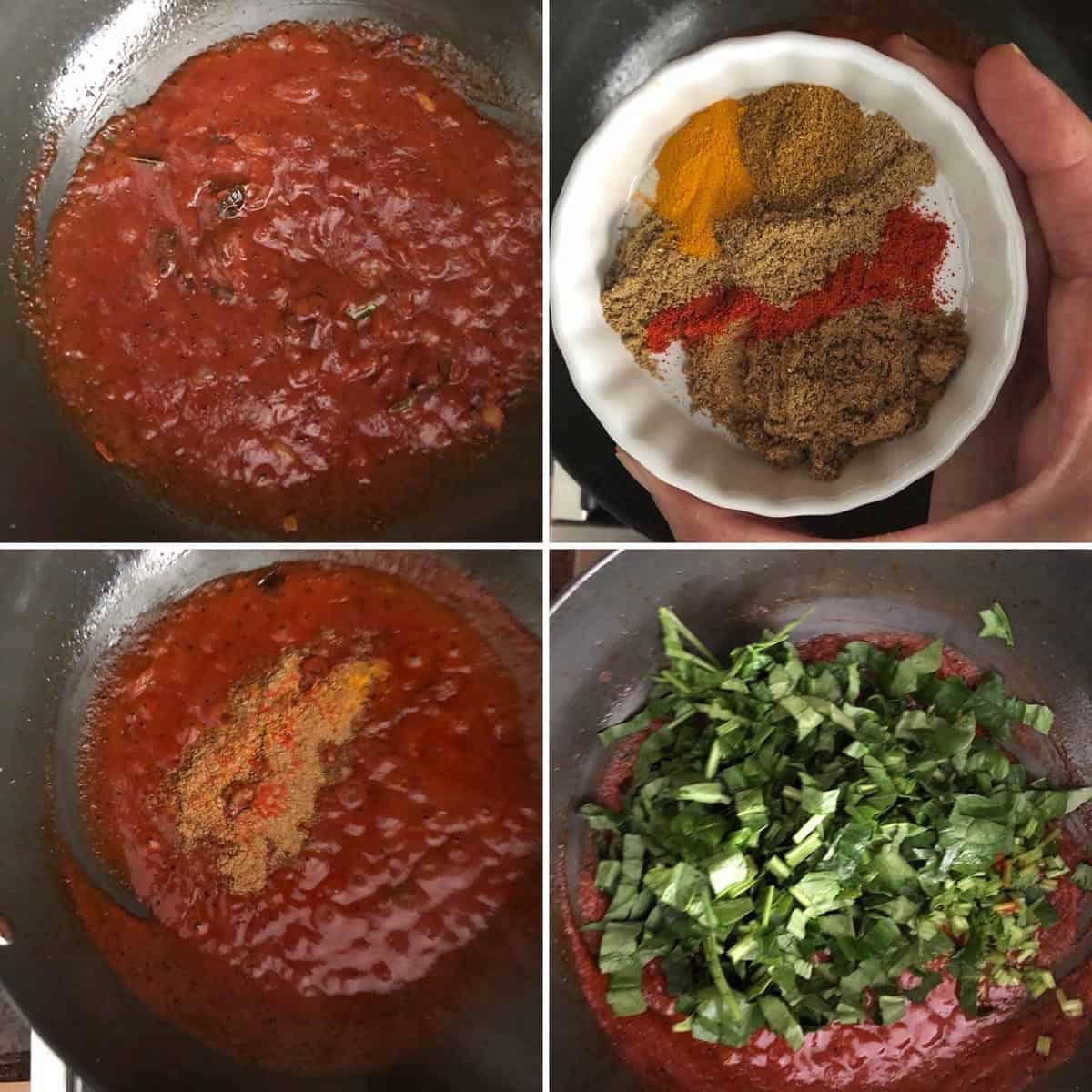 Adding tomato puree, spices and spinach