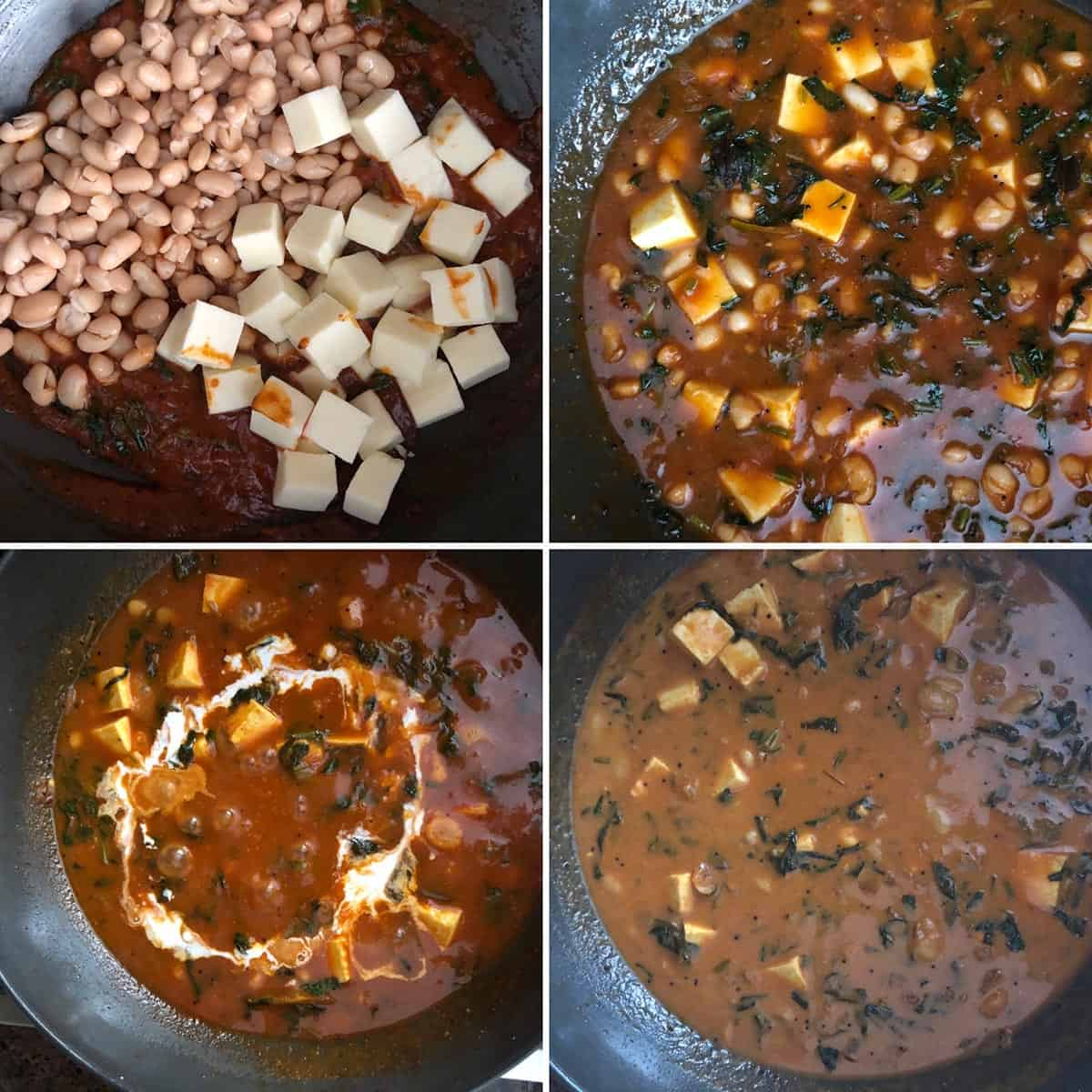 Adding beans, paneer and cream to the curry