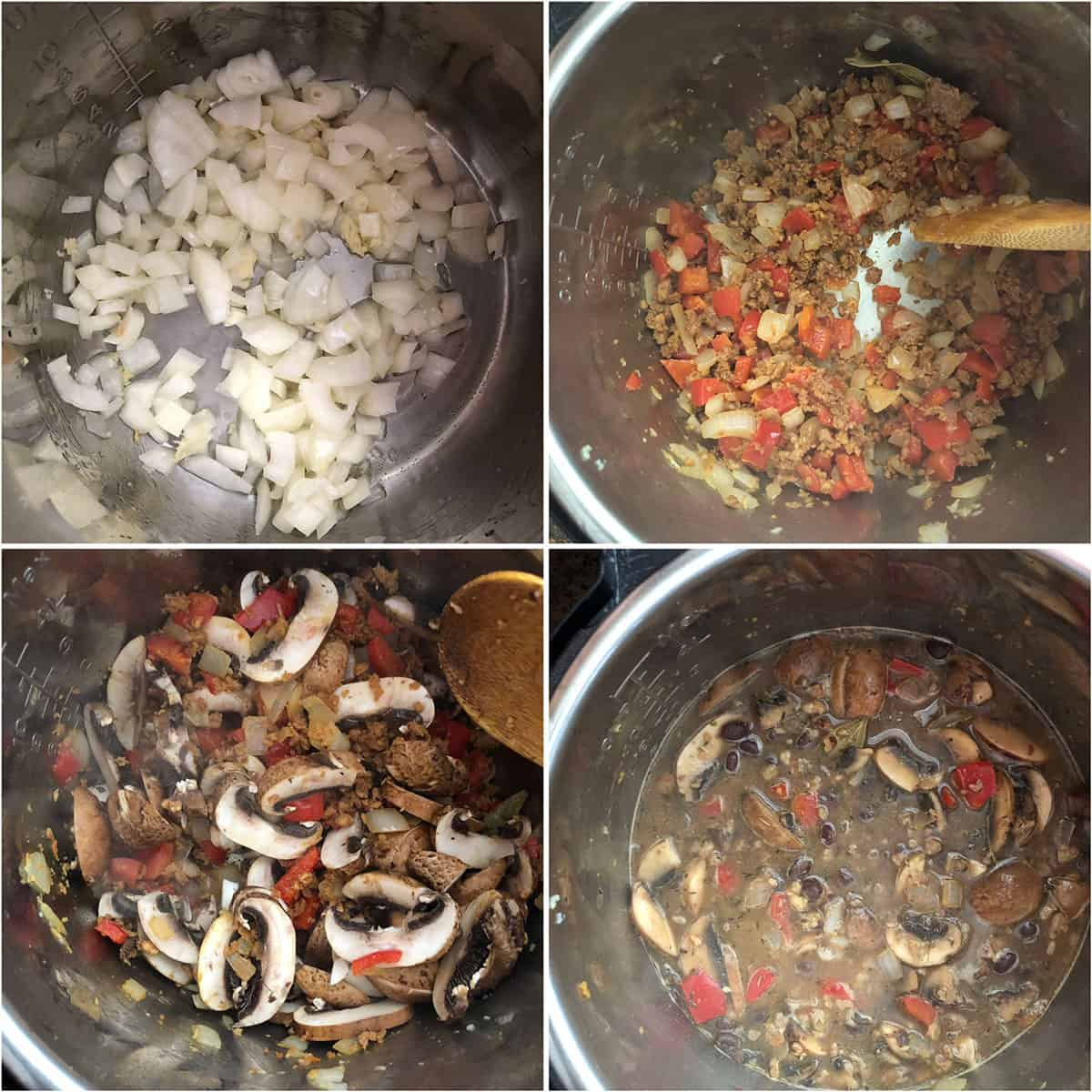 Sautéed onions with garlic, peppers, soy crumbles, mushrooms and simmered in broth